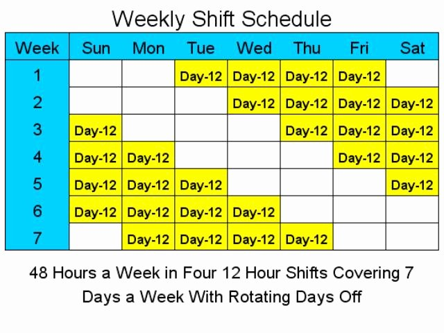 Rotating Overtime Schedule Template Inspirational 12 Hour Schedules for 7 Days A Week 1 4 Download