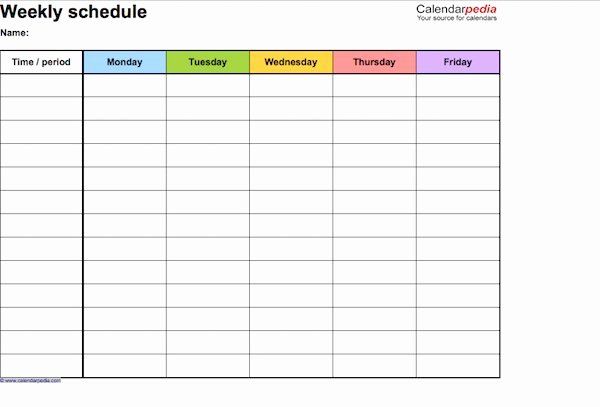 daily schedule templates