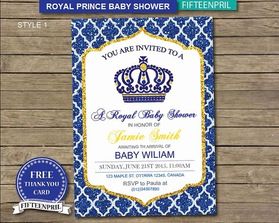 Royal Baby Shower Invitation Template Awesome Instant Download Royal Prince Baby Shower Invitation with