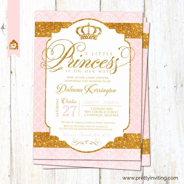 Royal Baby Shower Invitation Template Elegant Royal Princess Baby Shower Invitation Glam Gold Glitter