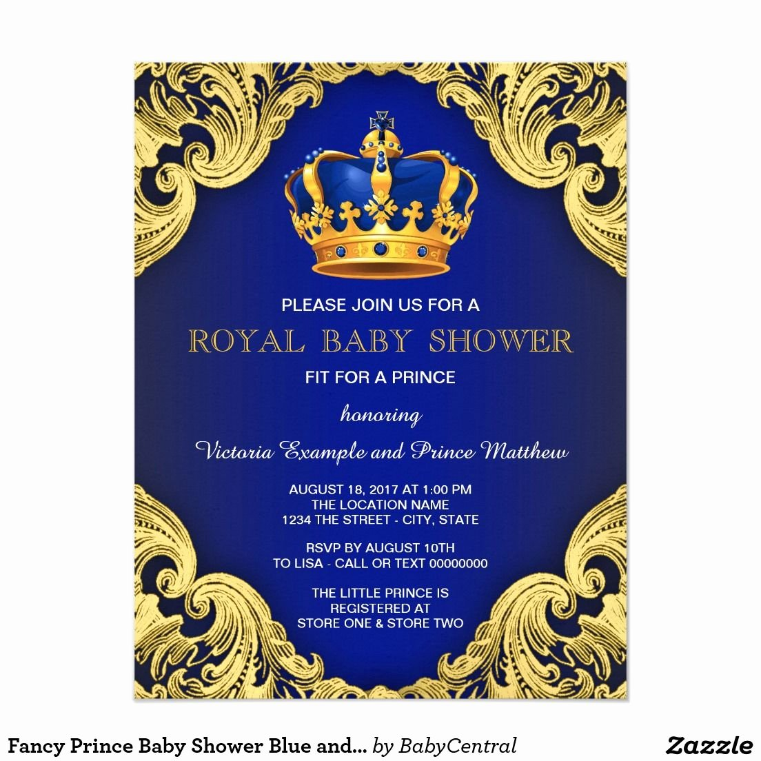 Royal Baby Shower Invitation Template Inspirational Fancy Prince Baby Shower Blue and Gold Invitation