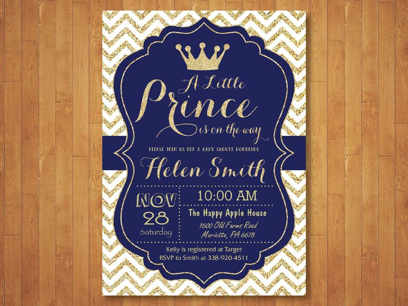 Royal Baby Shower Invitation Template Luxury Prince Baby Shower Invitation Royal Blue and Gold Crown Baby