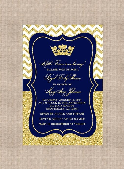 Royal Baby Shower Invitation Template Unique Prince Baby Shower Invitation Royal Blue Gold Baby by