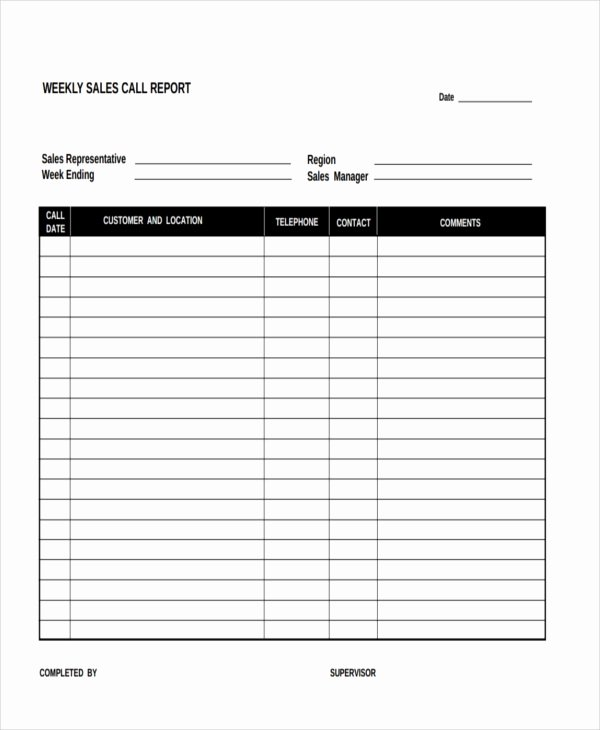 Sales Call Planner Template Fresh Free 15 Sales Report form Templates
