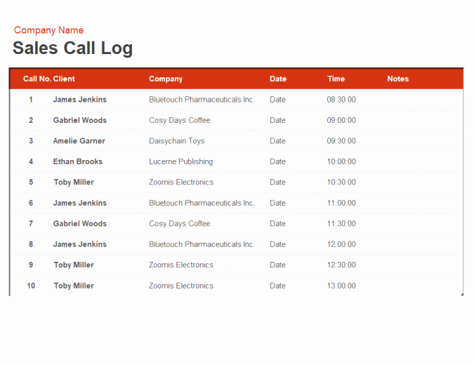 Sales Call Planner Template Inspirational Sales Call Log and organiser