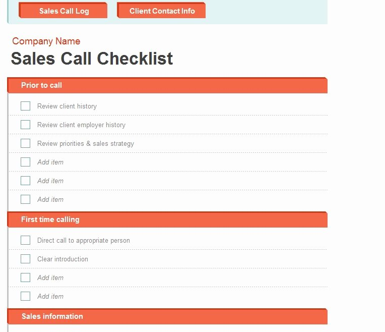 Sales Call Planner Template Inspirational Sales Call Log