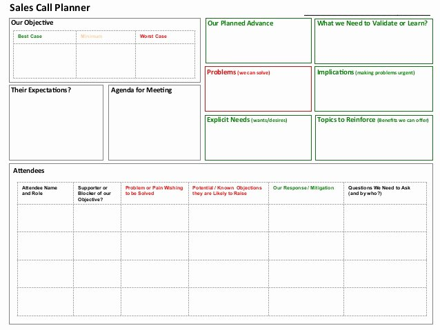 Sales Call Planner Template New Sales Call Planner tool