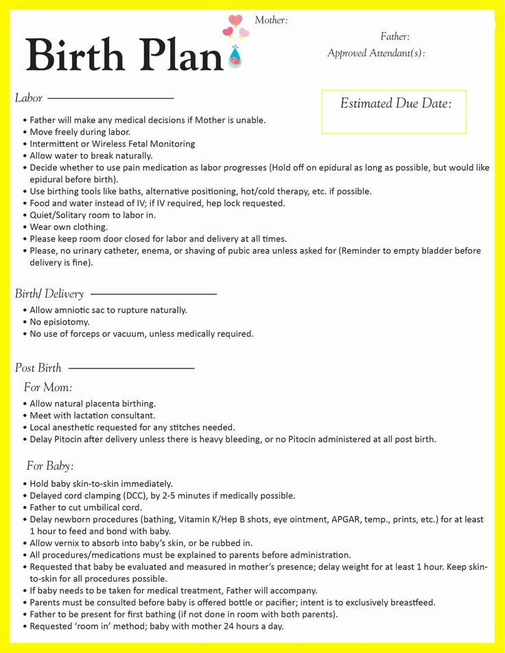 Sample Birth Plan Template Awesome Birth Plan Going to Make some Edits but This is A Good