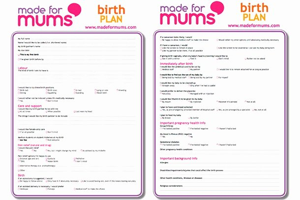Sample Birth Plan Template Best Of Writing A Birth Plan