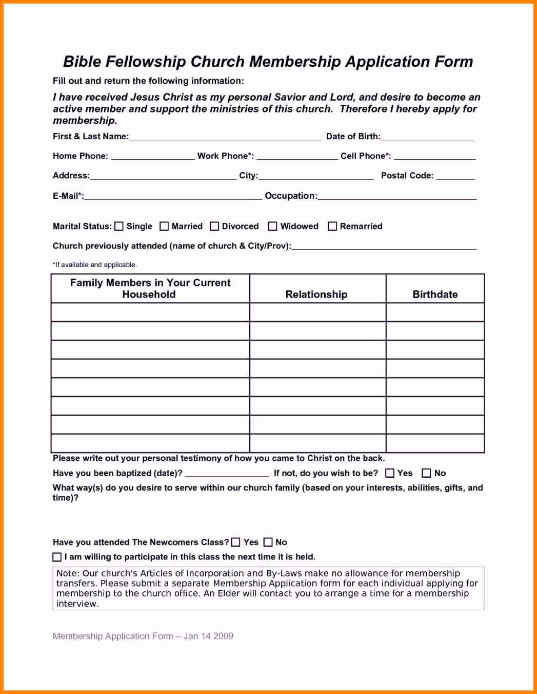 Sample Church Membership form Template Best Of Church Membership forms – Free Download