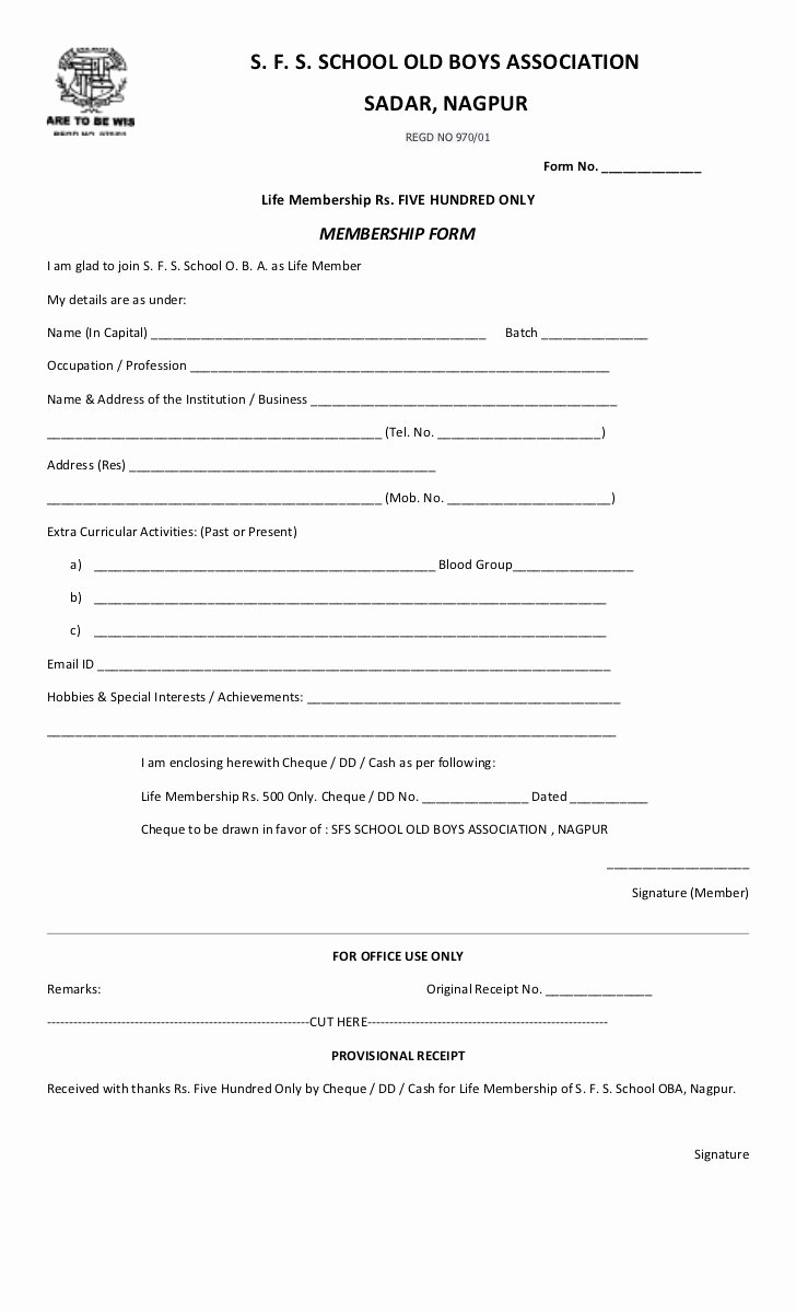 Sample Church Membership form Template Best Of Sfs Oba Life Membership form