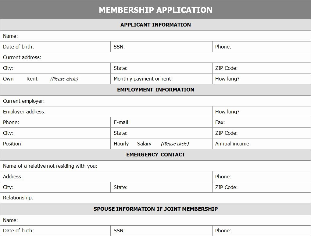 Sample Church Membership form Template Fresh Membership Application form