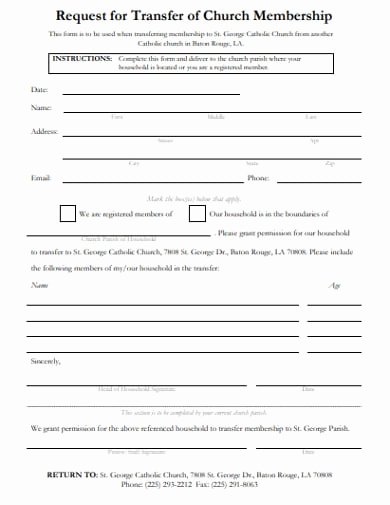 Sample Church Membership form Template Inspirational Free 13 Church Membership form Examples & Templates