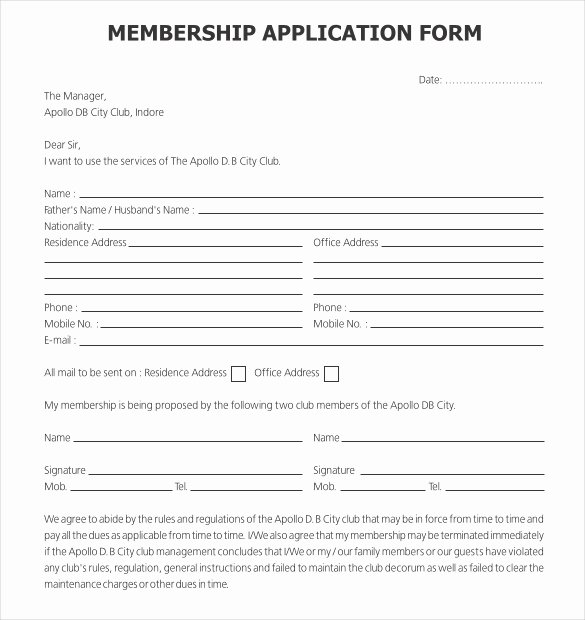 Sample Church Membership form Template Lovely 15 Application Templates Free Sample Example format