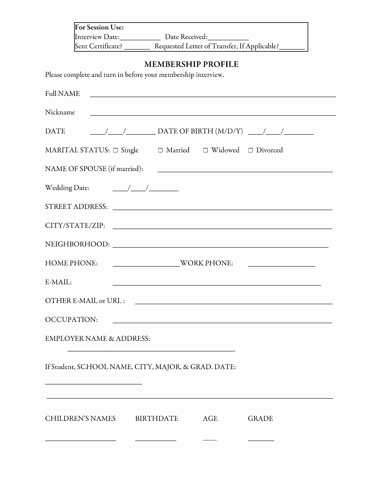 Sample Church Membership form Template Lovely 29 Of Sample Church Membership form Template