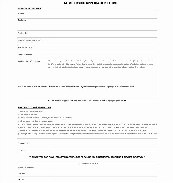 Sample Church Membership form Template Unique Membership Application Template – 12 Free Word Pdf
