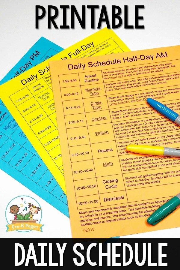 Sample Daily Schedule Template Beautiful Preschool Daily Schedule and Visual Schedules