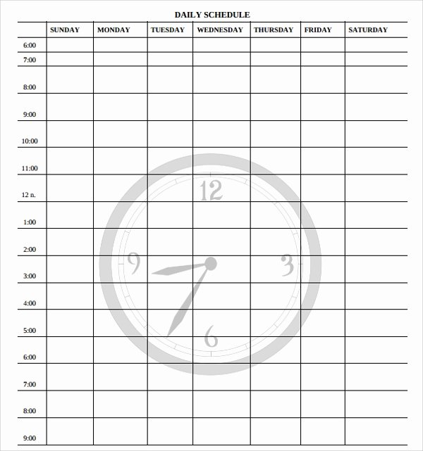 Sample Daily Schedule Template Best Of Free 24 Printable Daily Schedule Templates In Pdf