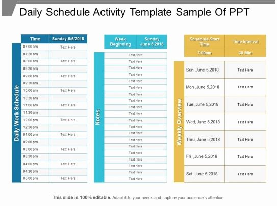 Sample Daily Schedule Template Inspirational Daily Schedule Activity Template Sample Ppt