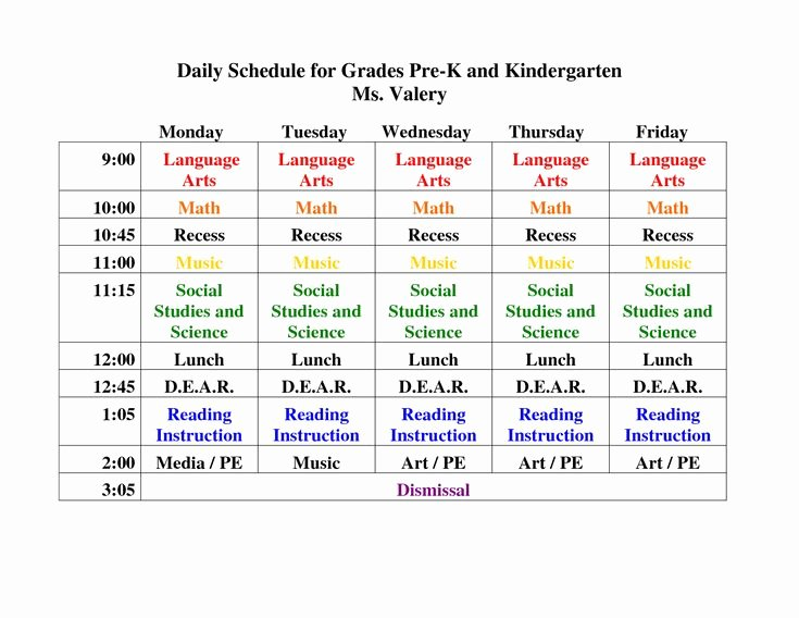 Sample Daily Schedule Template Inspirational Pre K Daily Schedule Google Search