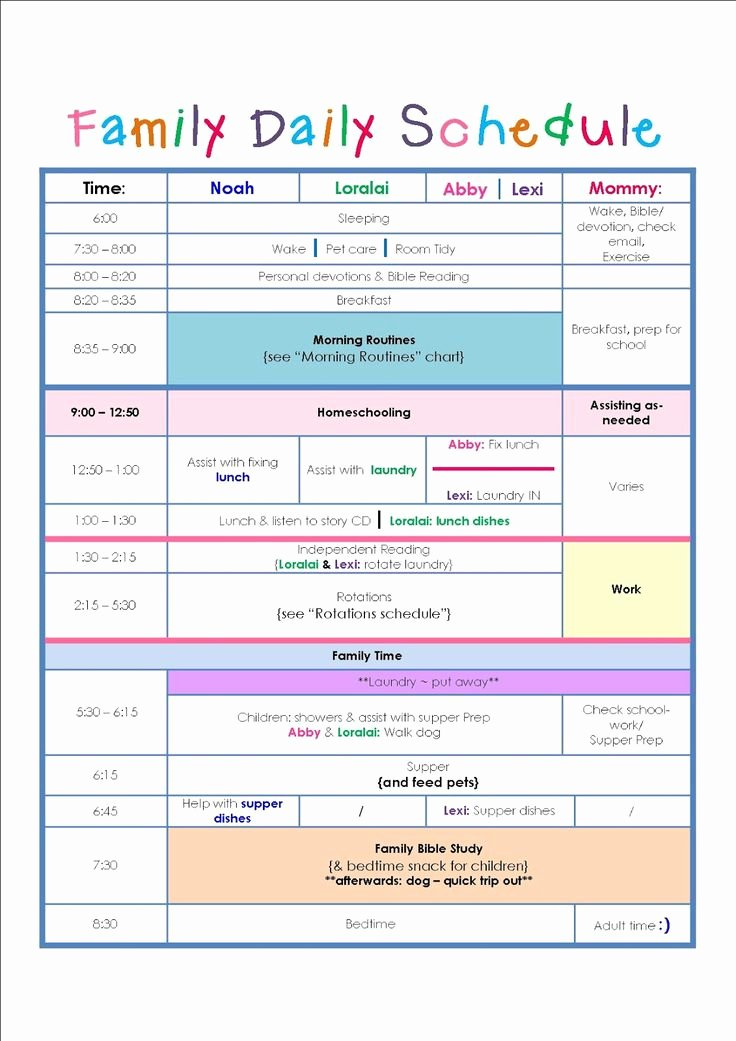 Sample Daily Schedule Template Luxury Family Daily Routine Schedule Template …