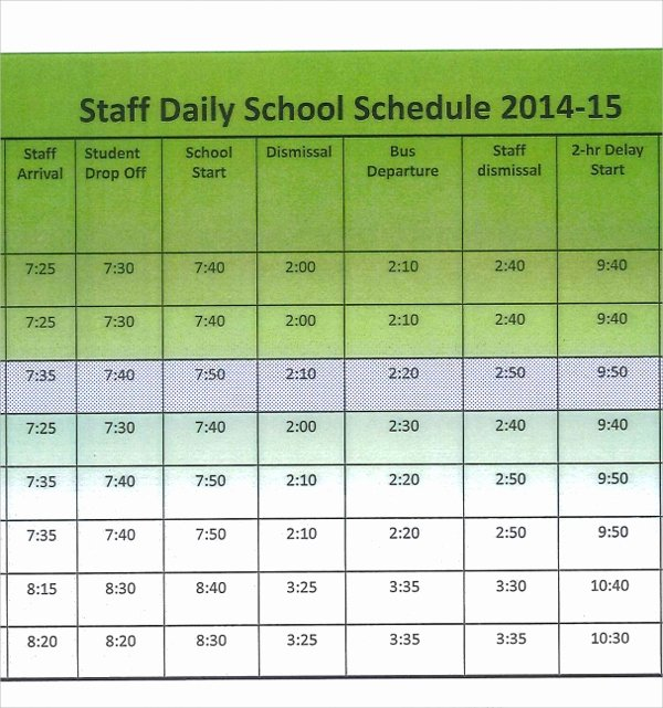 Sample Daily Schedule Template New Sample Printable Daily Schedule Template 17 Free