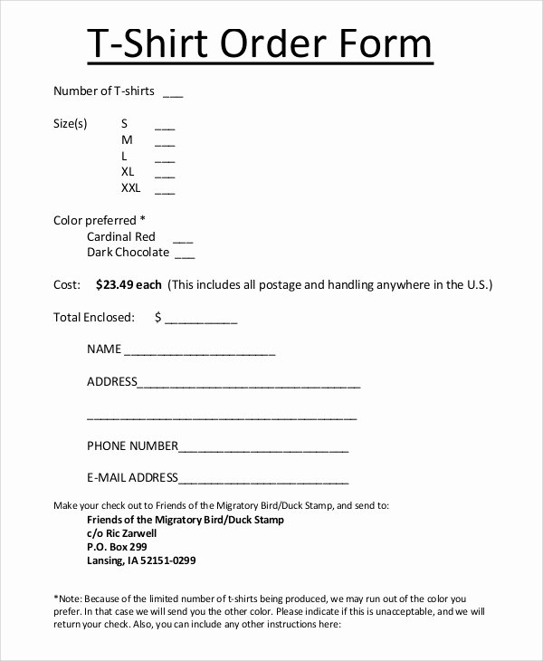 Sample order form Template Lovely Sample T Shirt order form 11 Examples In Pdf Word