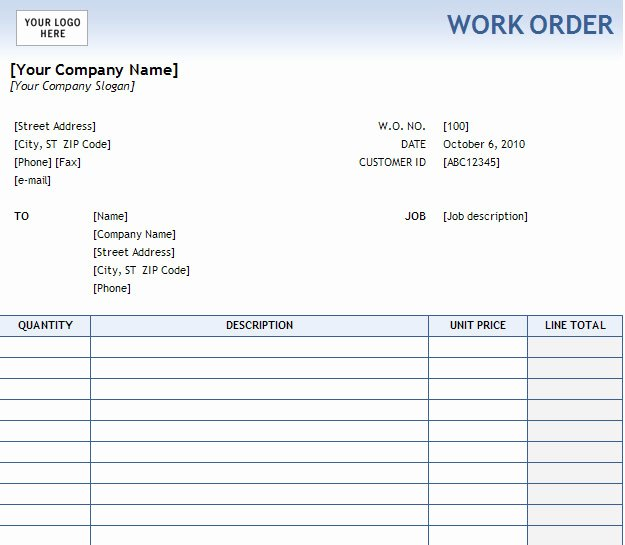 Sample order forms Template Best Of Work order form