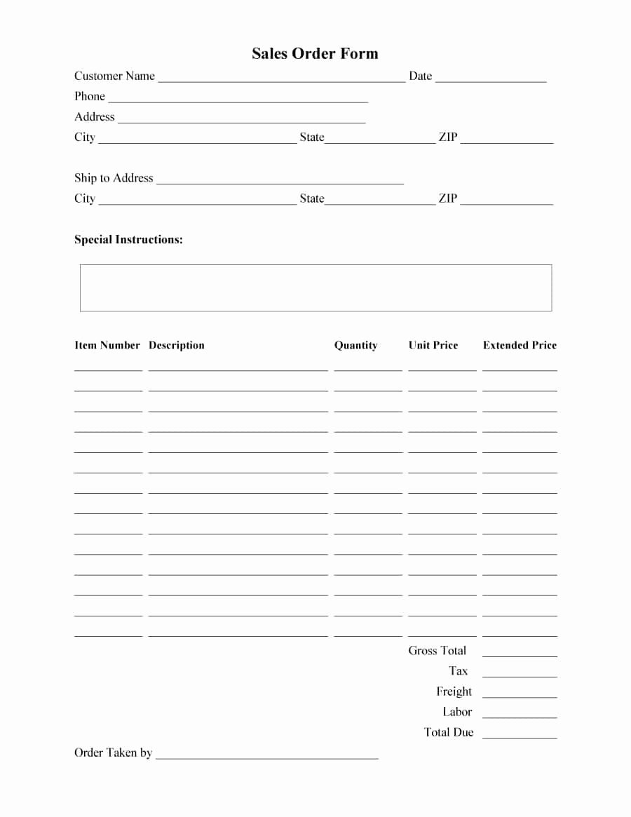 Sample order forms Template New 40 order form Templates [work order Change order More]