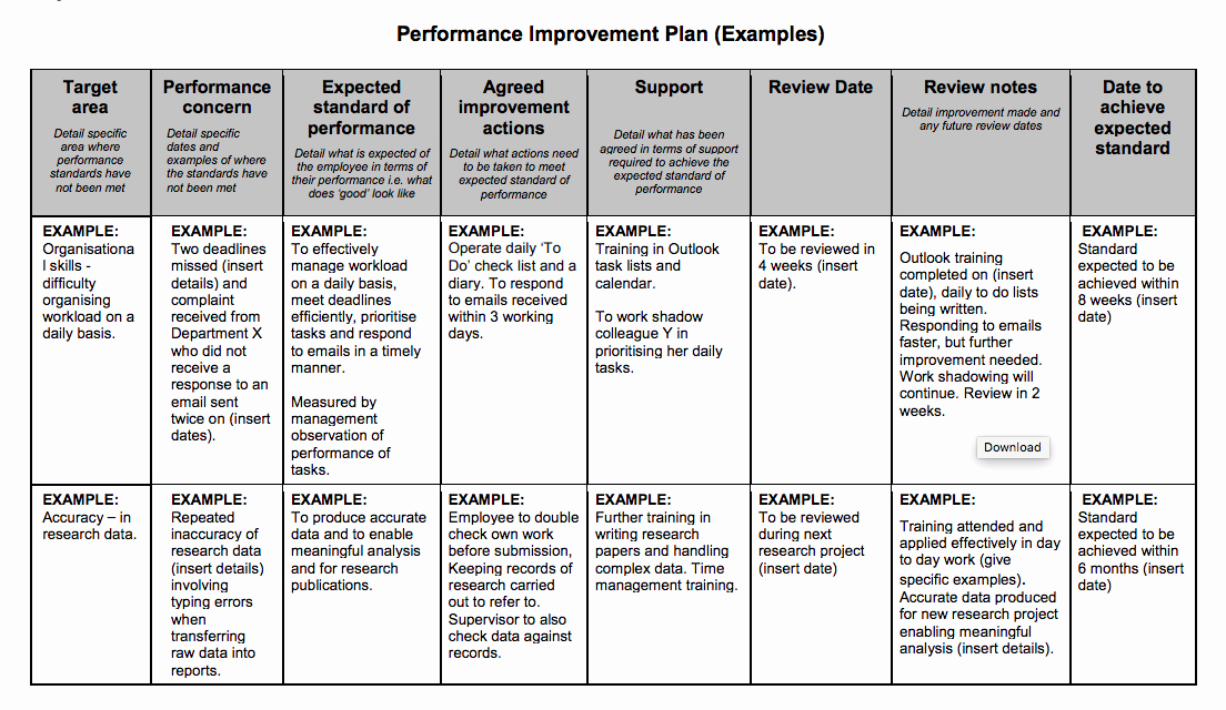 Sample Performance Improvement Plan Template Fresh Examples Performance Improvement Plans for Employees