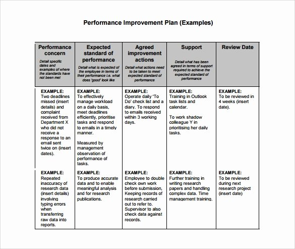 Sample Performance Improvement Plan Template Lovely Free 11 Sample Performance Improvement Plan Templates In