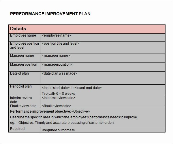 Sample Performance Improvement Plan Template Unique Free 11 Sample Performance Improvement Plan Templates In
