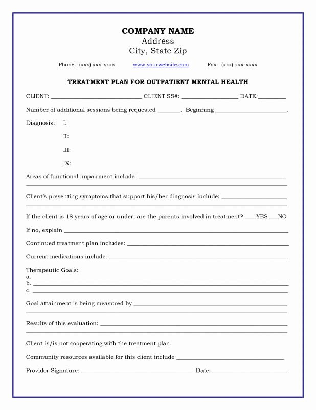 Sample Treatment Plan Template Unique Mental Health Treatment Plan Template Download