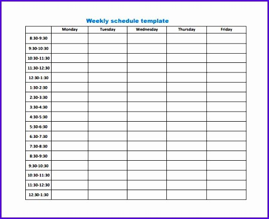 Schedule C Excel Template Fresh 6 Excel Template Weekly Schedule Exceltemplates