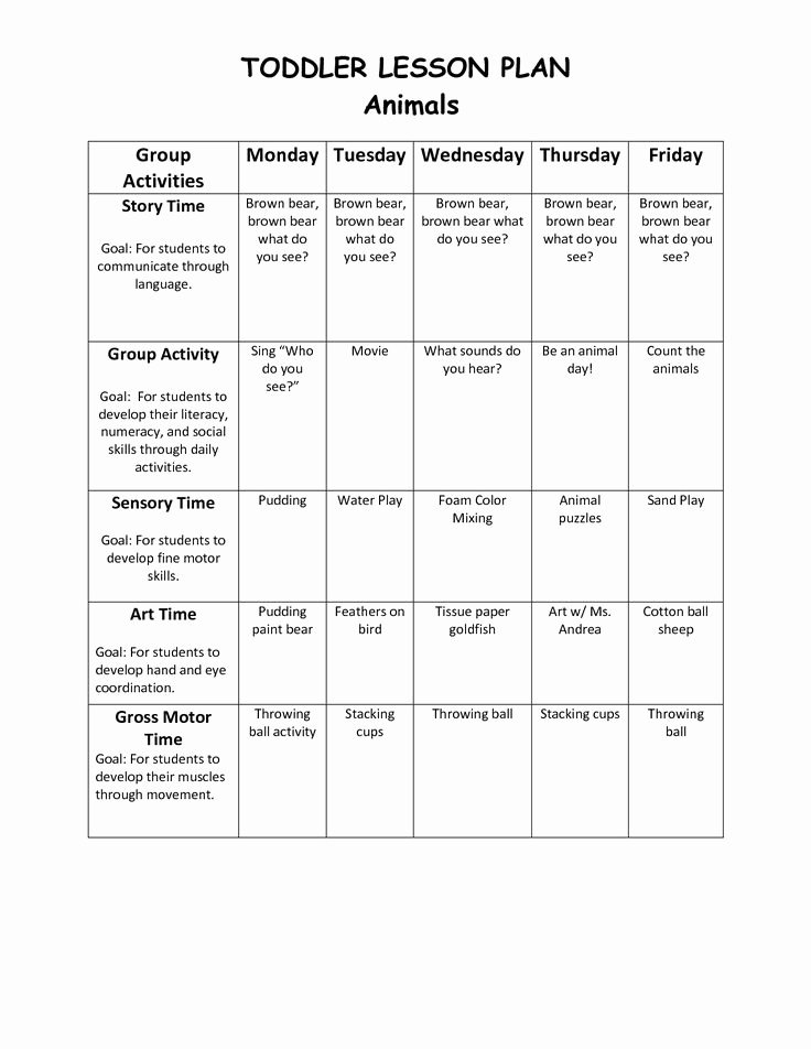 School Age Lesson Plans Template Fresh Infant Blank Lesson Plan Sheets