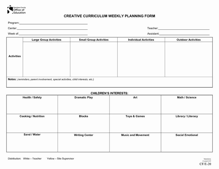 School Age Lesson Plans Template New Creative Curriculum Blank Lesson Plan