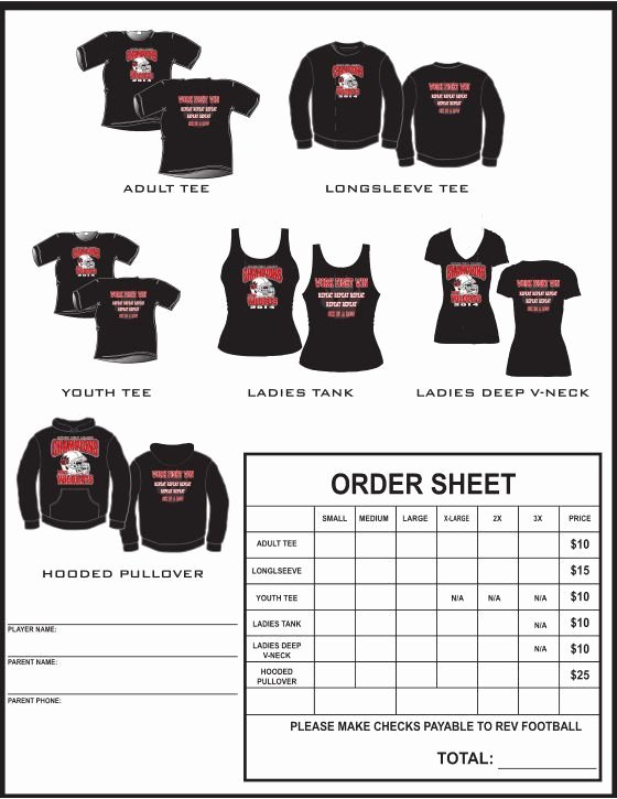 School Fundraiser order form Template Best Of Example T Shirt order form Google Search Pto