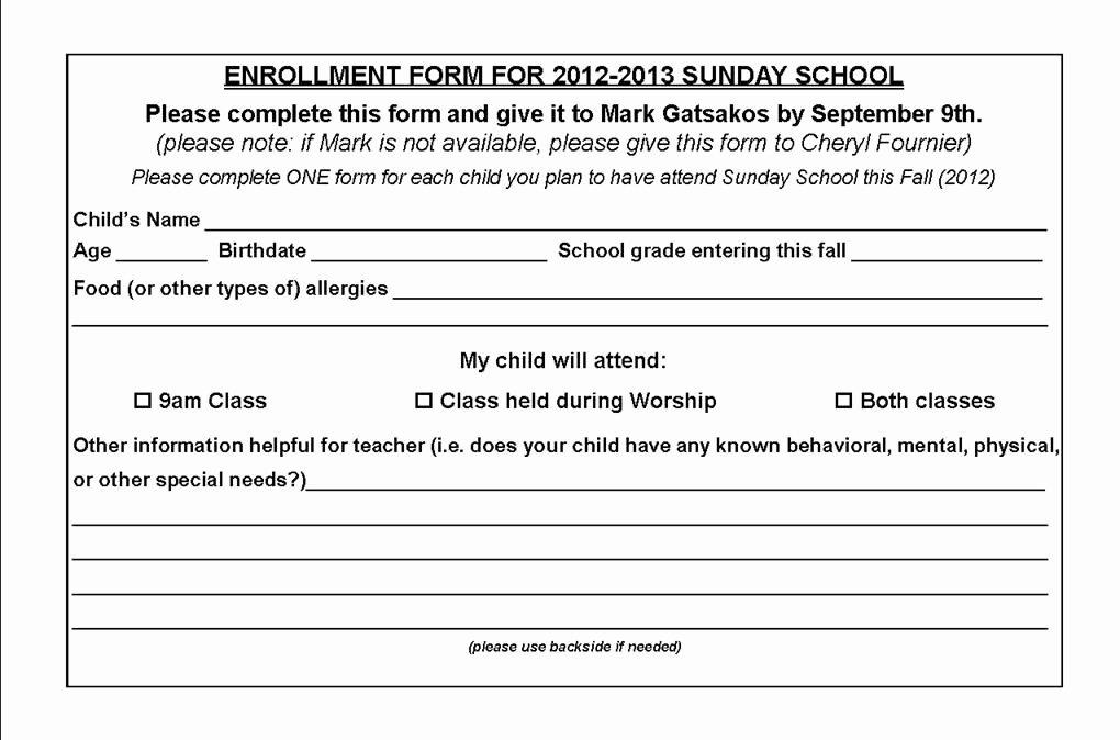 School Registration form Template Elegant Church Nursery Registration form thenurseries