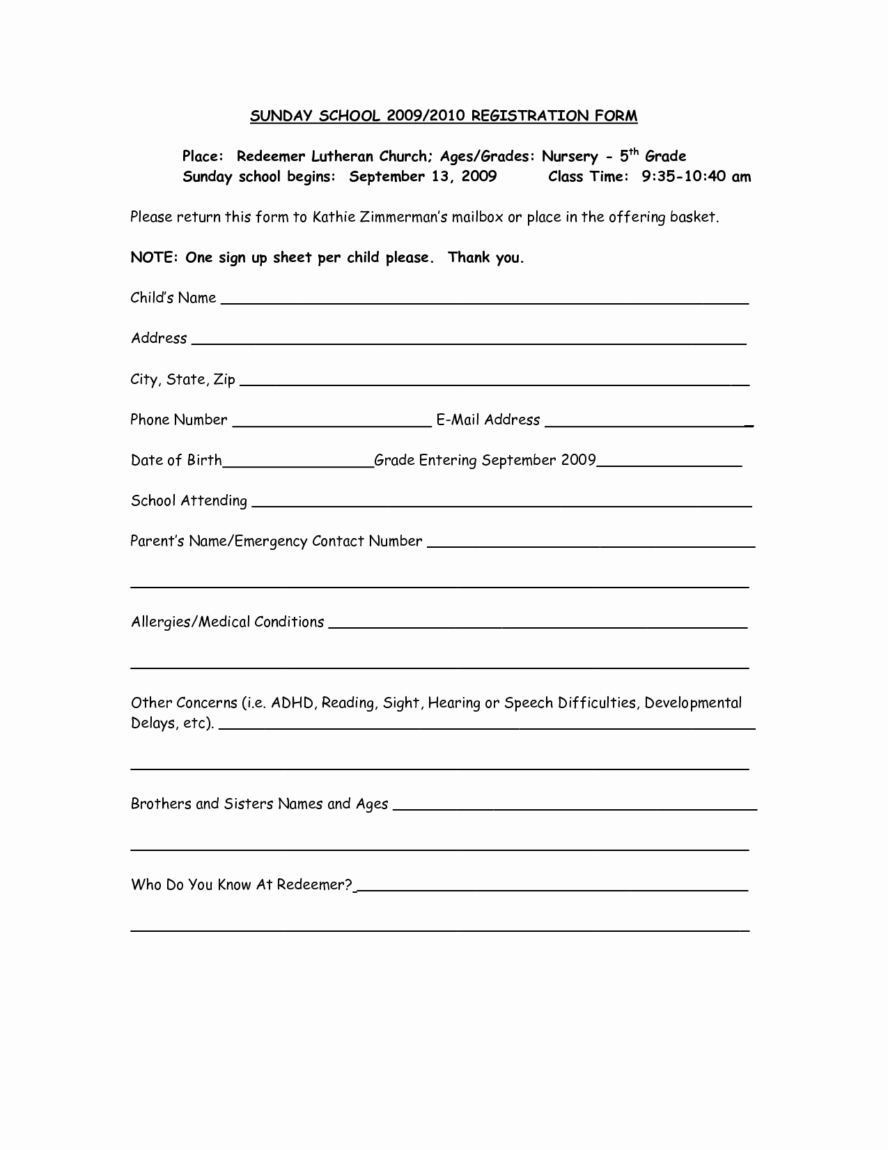 School Registration form Template Inspirational Church Nursery Registration form thenurseries