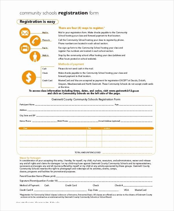School Registration form Template Lovely 8 Sample Registration forms Pdf Word