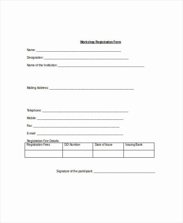 School Registration form Template Lovely Registration form Template 11 Free Pdf Word Documents