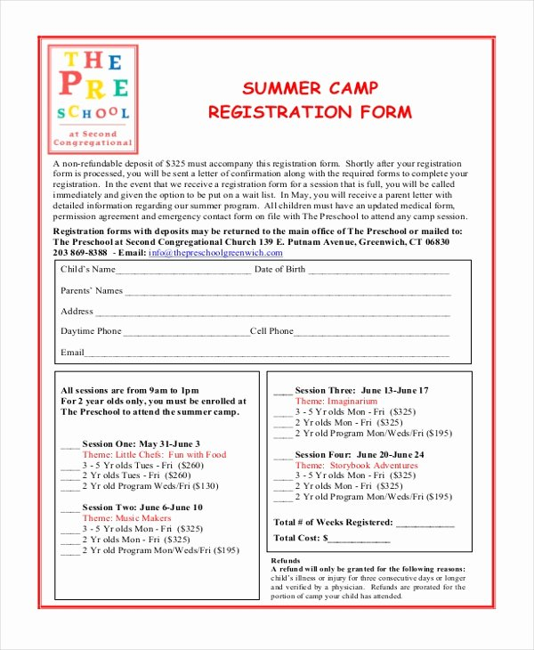 School Registration forms Template Awesome Free 10 Sample Summer Camp Registration forms
