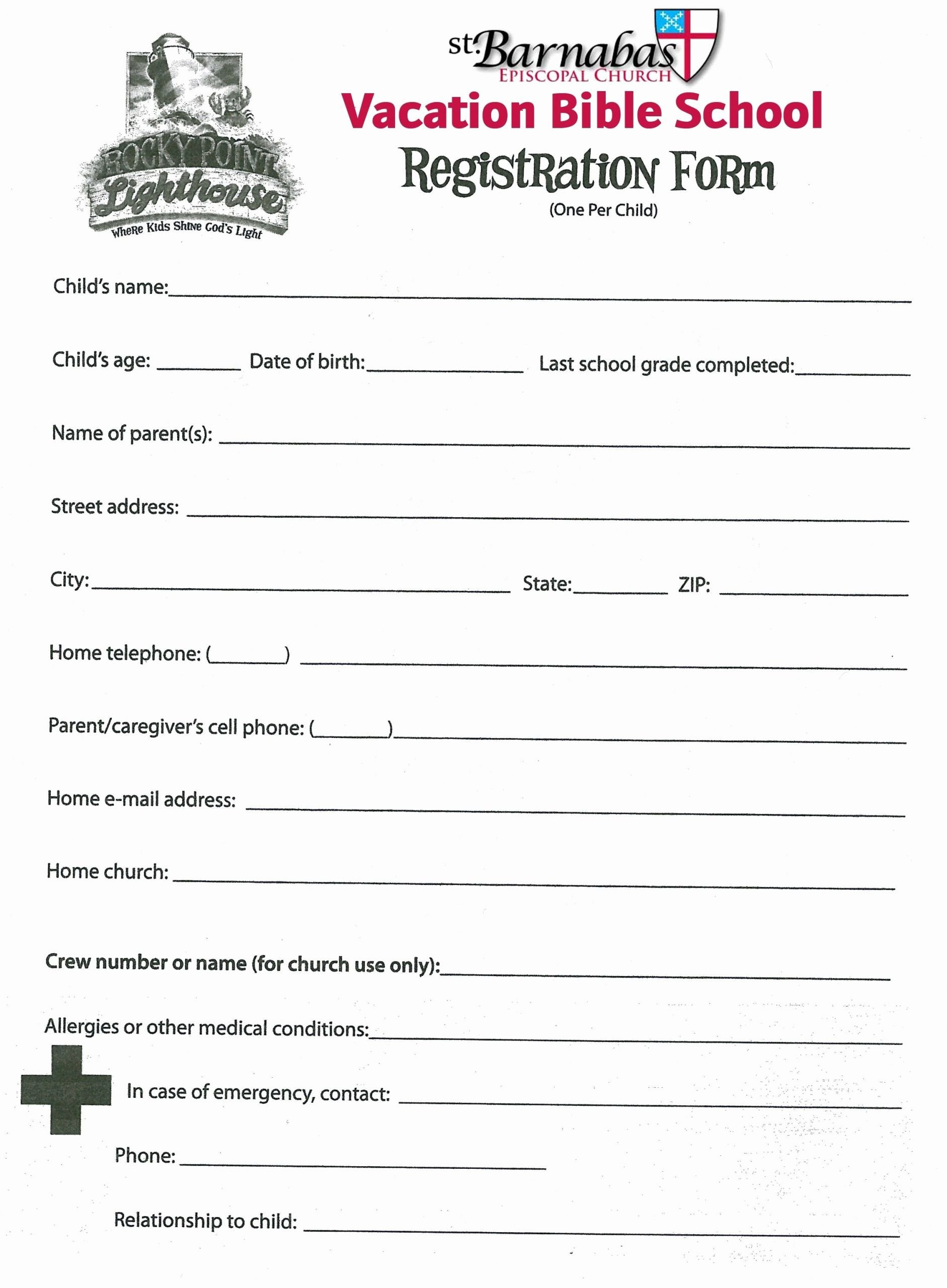 School Registration forms Template Awesome New Children S Church Sign In Sheet Template Xls
