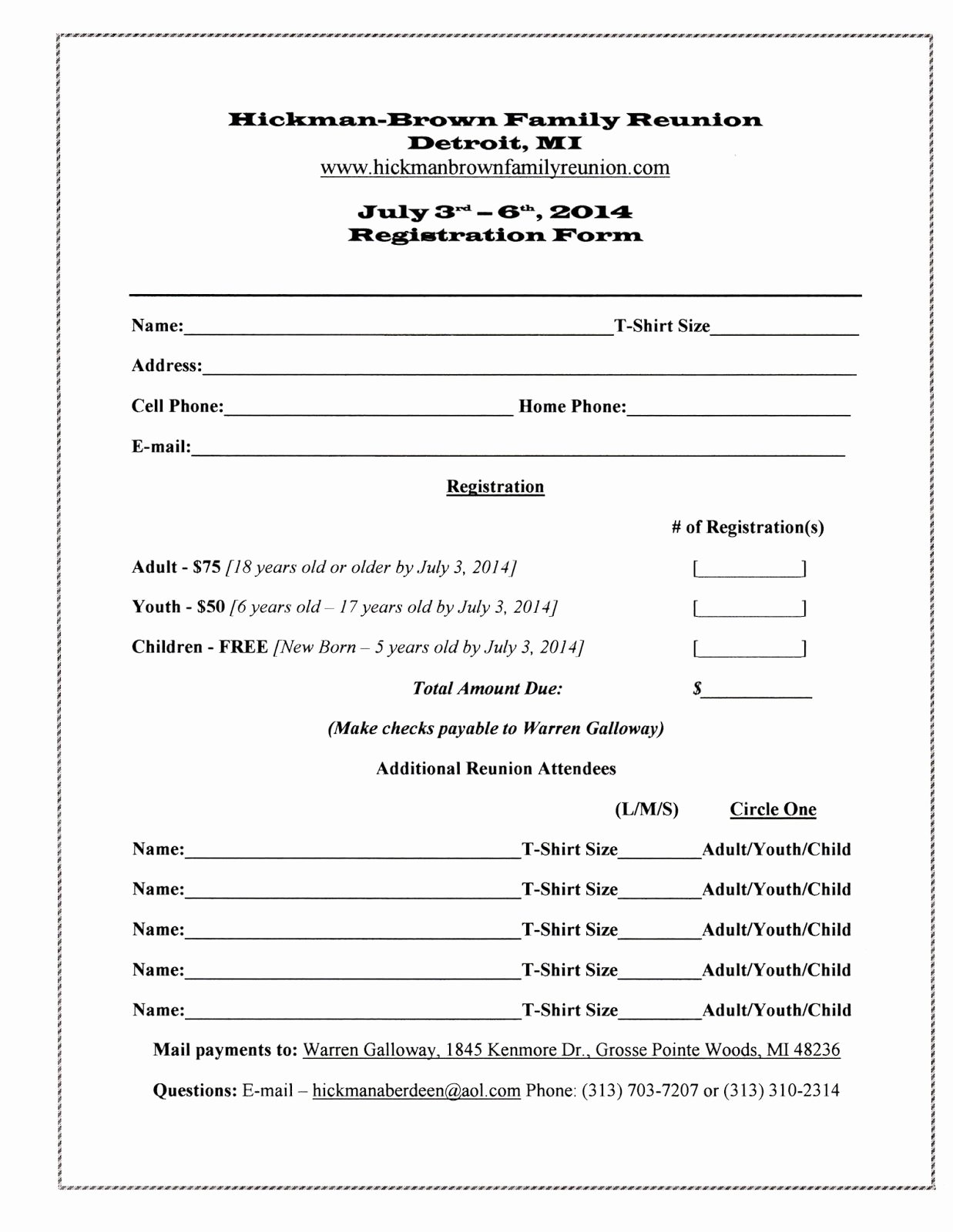 School Registration forms Template Elegant Family Reunion Registration form Template