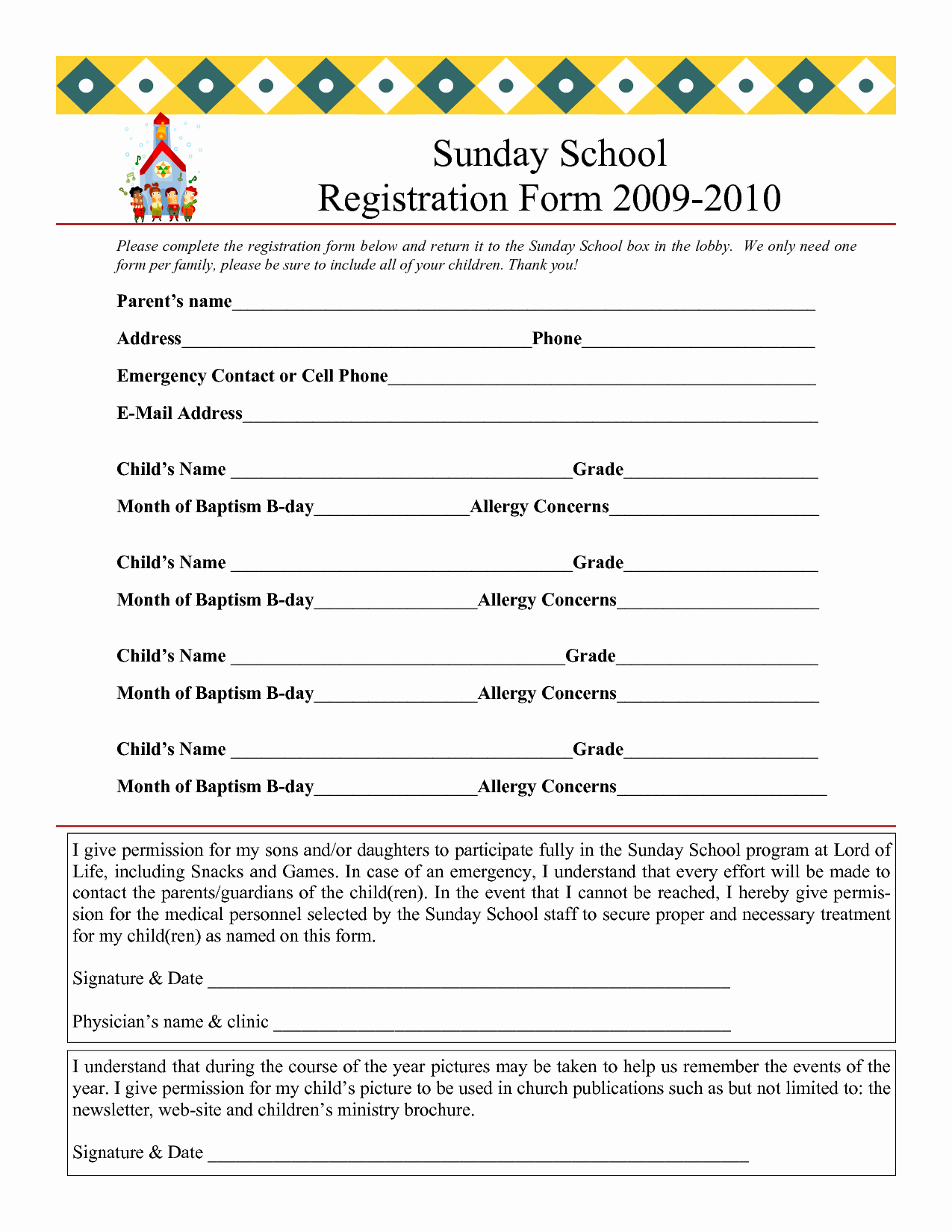 School Registration forms Template Elegant Sunday School Registration form 2009 2010