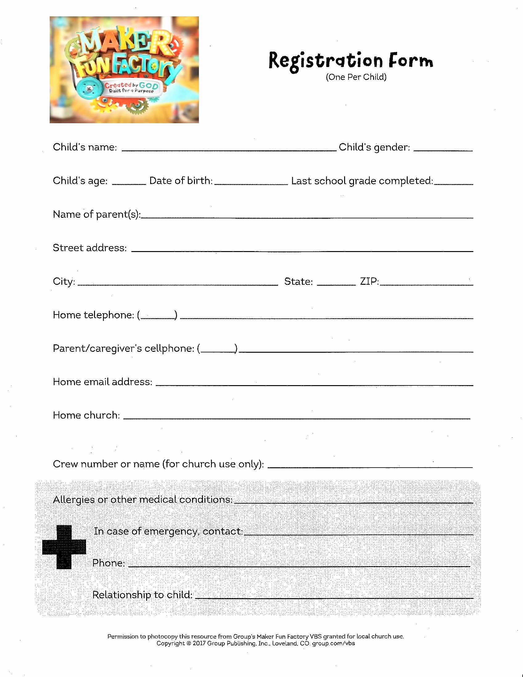 School Registration forms Template Fresh 2018 Vacation Bible School Registration form
