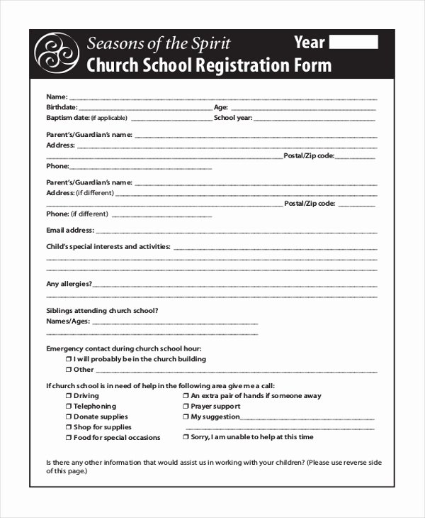 School Registration forms Template Fresh Free 10 Sample School Registration forms