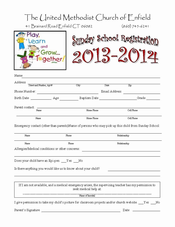School Registration forms Template Fresh Sunday School Registration form Biz Card