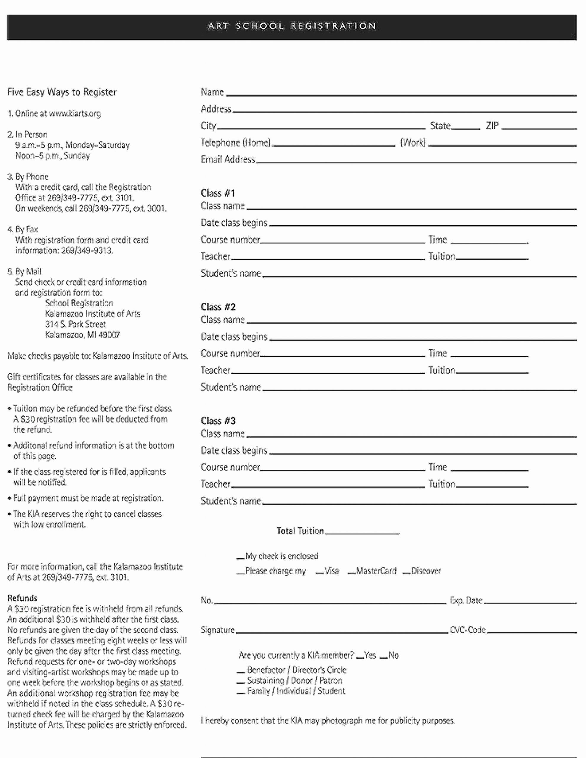 School Registration forms Template Inspirational Art School Registration