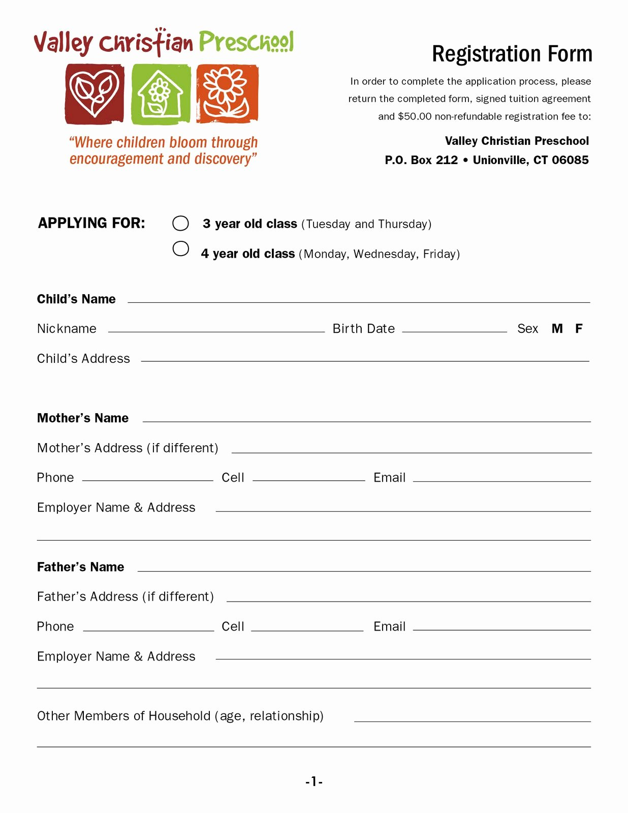 School Registration forms Template Inspirational Valley Christian Preschool Download A Registration form